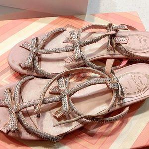 Rene Caovilla Crystal Bow T-Strap Sandal